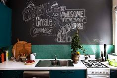 The ground-floor Sydney apartment of Alex Zabotto-Bentley of AZBcreative. A commissioned blackboard graffiti wall by Ashdown & Bee in the kitchen. Bedroom Drawing, Wall Paint Colors, Graffiti Wall, Plant Wall, Blackboards, Blue Walls, Wall Spaces, White Art, Picture Wall