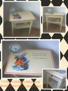 White Rabbit Quote Table. Created by Curiouser&Curiouser Handpainted Furniture