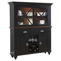 Perfect for stowing extra dinnerware and spare table linens, this timeless buffet and hutch showcases a black and cherry finish.  Pr...