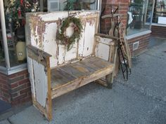 Old Chippy Bench with Christmas Wreath...made from old doors  reclaimed wood......From Home Style in Shinnston, WV - www.homestylewv.com.