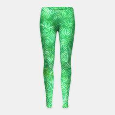 """Green zentangles"" Girl's Leggings by Savousepate on Live Heroes #leggings #leggins #pants #kidsclothing #kidsapparel #pattern #graphic #modern #abstract #doodles #zentangles #scrolls #spirals #arabesques #green #irish #stpatricksday #saintpatricksday"