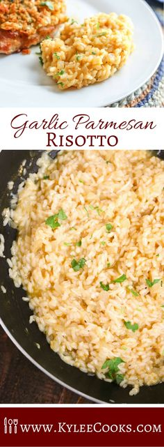 Risotto in minutes? Garlic Parmesan Risotto may be the star of th… Risotto in minutes? Garlic Parmesan Risotto may be the star of the show we call 'dinner' in this easy side – it's sure to please the whole family! Side Dish Recipes, Rice Recipes, Gourmet Recipes, Vegetarian Recipes, Side Dishes, Dinner Recipes, Cooking Recipes, Healthy Recipes, Easy Risotto Recipes