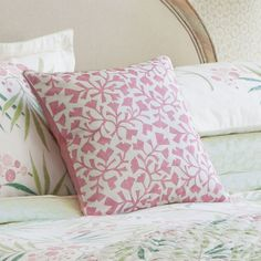 The Sanderson Home Arberella Leaf Cushion will brighten up any room with an attractive pink leaf print and stylish design as well as comfortable material. Pink Leaves, Leaf Prints, Country Style, Bedroom Ideas, Cushions, Throw Pillows, Home, Design, Rugged Men's Fashion