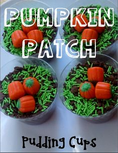 Quick and Easy Pumpkin Patch Pudding Cups! Cute for a Student-Make-It-Party with Graders. Quick Halloween Crafts, Halloween Class Party, Halloween Desserts, Halloween Cupcakes, Holidays Halloween, Halloween Treats, School Holidays, Halloween Halloween, Fall Crafts
