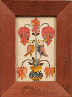 ramed Fraktur with Owls and Flowers, probably Pennsylvania, early 19th century, watercolor and ink on paper, depicting an urn issuing large stylized flower blossoms, flanked by two owls, (toning, minor light stains), 6 x 3 3/4 in., in a period red-painted wood frame.