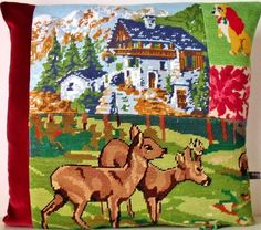 UNIQUE French Needlepoint Tapestry & Antique Linen Deer French Chalet Velvet Collage Pillow Cushion Coussin
