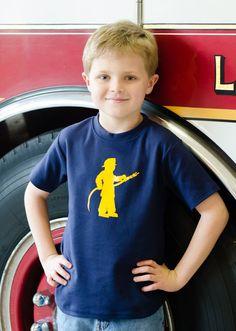 Little Fireman Short Sleeved Nostalgic Graphic Tee, original design available on Etsy