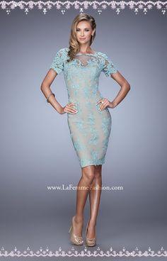 La Femme 21717 Blue Nude Short Sleeves Lace MOB Dress