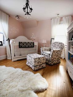 Baby Love    Creating an elegant space for a nursery came easy to RMS user MPLS, who mixed light pink with black and white toile. The look is fanciful without being fussy.