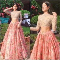 Jhanvi Kapoor was recently seen in a pink floral lehenga skirt teamed up with an embellished crop top by Sabyasachi. Indian Fashion Trends, Indian Designer Outfits, India Fashion, Designer Dresses, Fashion Online, Lehenga Designs, Indian Wedding Outfits, Indian Outfits, Indian Clothes