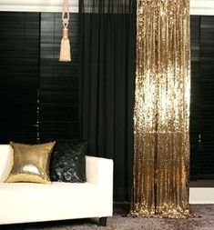 black and gold bedroom curtains gold sequins beaded curtain drapery panel room divider handmade order made black and gold bedroom curtains Gold Rooms, Gold Bedroom, Bedroom Decor, Bedroom Curtains, Diy Curtains, Bedroom Ideas, Master Bedroom, Rideaux Design, Panel Room Divider