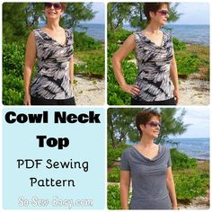 Looking for a sewing pattern for your next project? Look no further than Cowl Neck top with sleeve options from Deby Coles! - via @Craftsy