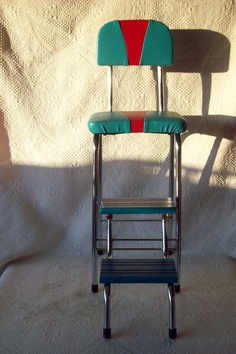 Red Cosco Kitchen Chair With Step Stool. Vintage Step Stool Chair Retro Counter With Lift Up Seat . Home Design Ideas Retro Kitchen Tables, 1950s Kitchen, Vintage Kitchen, Kitchen Step Stool, Kitchen Stools, Step Stools, Herman Miller, Metal Step Stool, Shaker Style Doors
