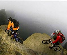 Another view of the most terrifying mountain bike trail on earth: The spectacular Cliffs of Moher hug the western Irish coast, towering up to 702 feet above breaking Atlantic Ocean waves.