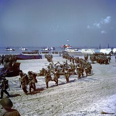 D-Day, 6 June 1944. Canadian troop are coming ashore on Juno beach.