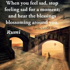 "ilaida: ""When you feel sad, stop feeling sad for a moment; and hear the blessings blossoming around you. - Rumi quote """