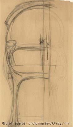 1899 Hector Guimard armchair sketch, front view (collection of the Musée d'Orsay)