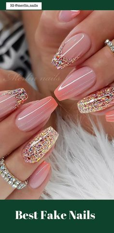 50 Pretty Best Fake Nails Easy 2019 - -polished off- - - Nagel Mode - Fancy Nails, Diy Nails, Cute Nails, Pretty Nail Designs, Pretty Nail Art, Diy Nail Designs, Cute Simple Nail Designs, Round Nail Designs, Easy Designs