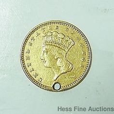 1862 $1 One Dollar Indian Princess American Gold Coin