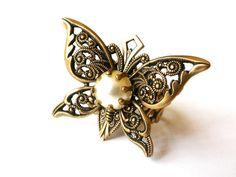 Bague papillon victorienne avec Cabochon nacre - bijoux victorienne