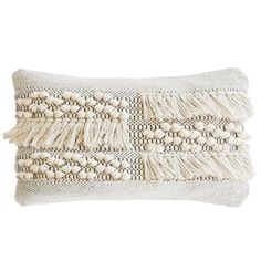 Pom Pom at Home's Zahra decorative pillow elevates modern rooms with boho-chic style. Tiered rows of tassels and pom poms adorn this handwoven rectangular cushion, creating a sensational yet versatile look in a soft ivory hue. The easy-care cotton fabric provides both practical and plush atop a bed, chair, or sofa. 14in W x 24in H. 100% cotton. Handmade. Insert Included.