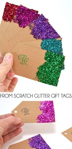 🎄Christmas DIY: From scratch glitter gift tags. Make gift tags from scratch & save big bucks. Glitter is super cute but you can decorate them any way you please. Homemade Christmas, Diy Christmas Gifts, Christmas Decorations, Christmas Holiday, Christmas Ideas, Christmas Quotes, Christmas Glitter, Santa Gifts, Christmas Birthday