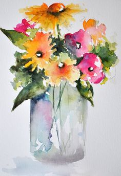 ORIGINAL Watercolor Painting Still Life Floral by ArtCornerShop