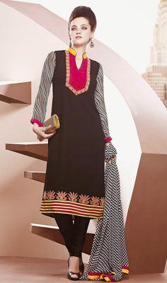 Black Georgette Churidar Dress Price: Usa Dollar $137, British UK Pound £80, Euro101, Canada CA$147 , Indian Rs7398.