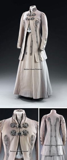 Suit, Frederick Bosworth, ca. 1908. Lilac-gray wool with military-style frogging in silk braid; lined in lilac silk. Jacket is hip length and princess-cut; gored skirt sits 2 inches off the ground and is slightly flared. Bosworth was once manager of the London branch of Redfern before setting up his own ladies' tailoring business. Victoria & Albert Museum