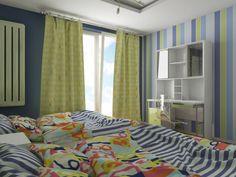 Projket pokoju - sypialni dla bliźniąt. W projekcie wykorzystano meble z serii nowoczesnej Fiorentino 549.