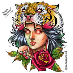 neo traditional, new traditional, mulher, tigre, tiger tattoo,