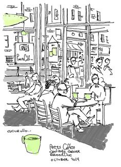 Collecting my thoughts over a cup of joe, Peet's Coffee, Coolidge Corner, Brookline Massachusetts,  (cafe sketch by Michael Cucurullo)...#peets_coffee