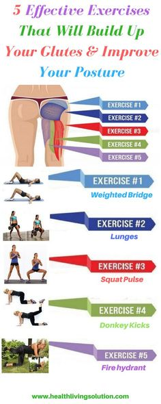 5 Effective Exercises That Will Build Up Your Glutes & Improve Your Posture - Na., 5 Effective Exercises That Will Build Up Your Glutes & Improve Your Posture - Na. 5 Effective Exercises That Will Build Up Your Glutes & Improve You. Fitness Workouts, Fitness Motivation, At Home Workouts, Butt Workouts, Best Butt Lifting Exercises, Fitness Hacks, Body Fitness, Health Fitness, Fitness Life