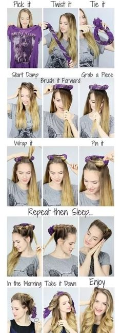 How to curl hair with a t-shirt