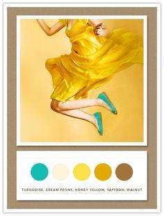 turquoise, cream peony, honey yellow, saffron, walnut <3 <3 <3