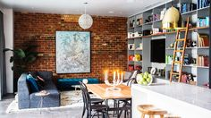 Gorgeous living and dining room, exposed brick The Block Au