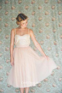 cute blush tea length tulle bridesmaid dress