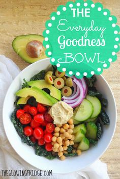 The Everyday Goodness Bowl - a big bowl of good-for-you-ingredients - from The Glowing Fridge.  Protein: chickpeas, opt. hemp hearts, sunflower seeds