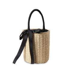 Cylinder Shaped Straw Ribbon Tote Bag Beige (213.640 IDR) ❤ liked on Polyvore featuring bags, handbags, tote bags, straw tote bags, white handbag, beige tote, white purse and shoulder hand bags