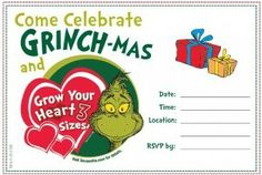 Free Downloadable Dr. Seuss Grinch-mas Party Invitation