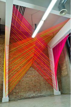 Coloured ribbon wall