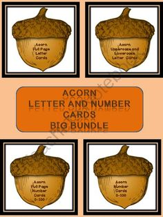 Acorn Letter and Number Flashcards and Posters Big Bundle from My Kinder Garden on TeachersNotebook.com (240 pages)  - Here is the acorn letter and number cards in a bundle. The Bundle includes the Acorn Full Page Alphabet Letter Cards Uppercase and Lowercase and the Acorn Alphabet Letter Cards Uppercase and Lowercase as well as the Acorn Full Page Number Cards 0-100 and