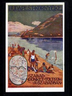 Budapest környéke   plakát Retro Ads, Retro Vintage, Hungary, Budapest, Traditional, Painting, Art, Art Background, Painting Art