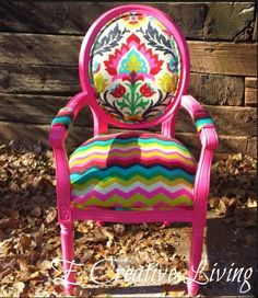 Custom Order Happy Chair Damask and Chevron by ECreativeLiving, $350.00