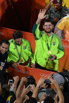Brazil's Alison Cerutti and Bruno Bruno Oscar Schmidt after winning the gold…