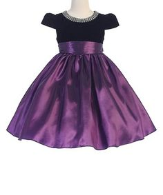Another great find on #zulily! Purple & Black Cap-Sleeve Dress - Toddler & Girls #zulilyfinds