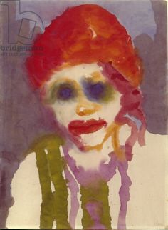 Woman with Red Hair, c.1925 (w/c on paper) creator Nolde, Emil (1867-1956)