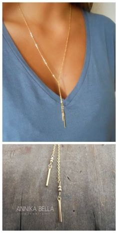 A classy everyday dainty lariat gold filled necklace.