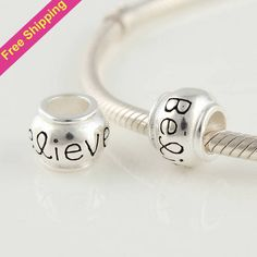 Free Shipping Believe 925 Sterling Silver Slide Charm Beads DIY Jewelry Fit Bracelets Necklaces FJ322 $9.43