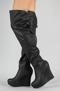 Qupid Stuckup-04 Lace Up Thigh High Wedge Boot | WERK! | Pinterest ...